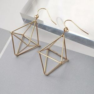 Hollow Geometric Design Drop Earrings